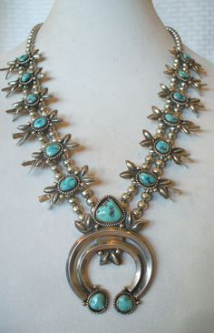 Vintage NAVAJO Stamped Sterling Silver Repoussé and TURQUOISE Squash Blossom NECKLACE