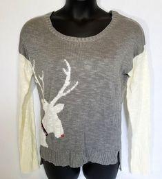 t/o Womens Sweater Size XXL Reindeer Gray White #to #wideneck