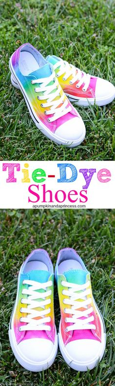 Rainbow Tie-Dye Shoes - kids and teens will love this tutorial on how to make tie dye shoes! Grab a pair of white canvas shoes and create a rainbow tie dye effect in a few simple steps. Fête Tie Dye, Tie Dye Party, How To Tie Dye, Diy Tie Dye Vans, Tie Dye Converse, Bedazzled Converse, Converse Shoes, Cut Up Shirts, Cheer Shirts