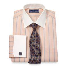 2-Ply Cotton Glen Plaid Stripe Spread Collar French Cuff Dress Shirt
