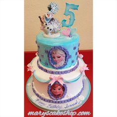 Another Frozen themed cake!! #frozen #frozencake #disney #disneycake #princesscake #maryscakeshop #birthdaycake #girlcake #notcoveredinfondant #whippedcream #edibleimage #elsacake