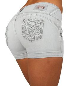 Silver Diva Style DJ1250_SH Colombian style Super Sexy Stretch Butt Lifting Push-Up (Levanta Cola) Short Shorts Silver Diva. $26.99