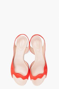 JIL SANDER Red Scalloped Sandal