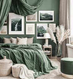 Stunning art gallery wall green bedroom Hogwarts posters oak frames - Gallery wall inspiration - Posterstore.co.uk