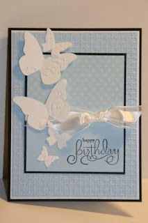 Beautiful card using SU 'Beautiful Wings' embosslit, and a couple different embossing folders.