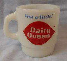 """Fire King Stackable Dairy Queen """"Live A Little"""" Coffee Mug"""