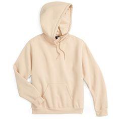 Women's Topshop Oversize Hoodie (60 AUD) ❤ liked on Polyvore featuring tops, hoodies, nude, petite, hooded pullover, pink top, pullover hoodie, kangaroo pocket hoodie and hooded sweatshirt