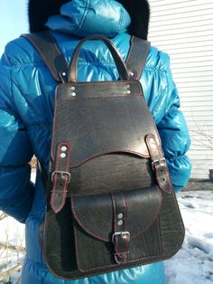Leather Bags, Leather Craft, Leather Backpack, Sling Backpack, Fashion Backpack, Backpacks, Backpack Purse, Appliques, Leather