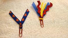 Superman Blue/Red/Yellow Ribbon Paperclip Set - Planner/Journal/Bookmark - Erin Condren, Kikki K, Happy Planner