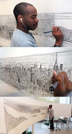 Stephen Wiltshire, an autistic artist with a photografic memory, is drawing new york city after seeing it once from a helicopter. amazing!