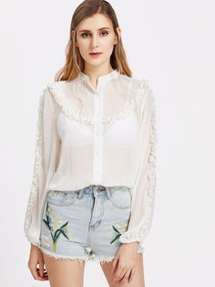 MakeMeChic - MAKEMECHIC Band Collar Frill Detail Lantern Sleeve Sheer Blouse - AdoreWe.com