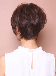 Back view short brunette hairstyle