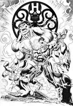 Hulk & Nick Fury by Claudio Castellini