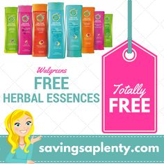 HOT! FREE Herbal Essences Hair Care at Walgreens!   HOT! FREE Herbal Essences Hair Care at Walgreens! Head on over to Walgreens this week and scoreFREE Herbal Essences Hair Care! Check out the deal: Buy (2) Herbal Essences Hair Care for $2.50 each Use one $3.00/2 Herbal Essences Shampoo, Conditioner or Styling Productscoupon - CLIP H... http://www.savingsaplenty.com/?p=6029