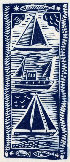 Three Boats cyanotype print  www.fish-and-ships.com