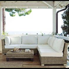 Sofá de 3 plazas de algodón blanco Key West | Maisons du Monde