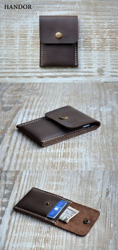 The Handmade Leather Card Wallet (front pocket wallet).. It is light, practical and elegant, made of soft leather, very durable and created with love. Its small size makes it perfect for people who like front pocket wallets. Its an awesome, unique gift id