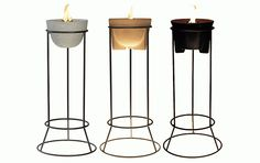 Also: outdoor models, lids (to extinguish), steel stands...