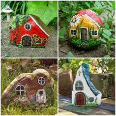 Painted rocks, houses.  25 amazing ideas that will help you transform your garden into a paradise