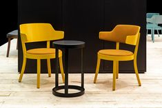 The selley armchair in yellow, here with and without upholstered back and armrest, radiates a lot of warmth and looks particularly inviting. One cannot help but sit down on this comfortable armchair. Design: Frédéric Dedelley, 2019 Manufacturer: horgenglarus. Warm Colors, Armchair, Stool, Yellow, Creative, Furniture, Design, Home Decor, Sofa Chair