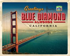 How about making a replica Golden Gate out of roasted almonds? No-one would mind the traffic! Greetings From California Sweepstakes via @Blue Diamond Almonds