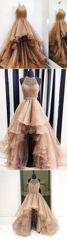 Beaded Halter High Low Charming Affordable Long Evening Prom Dress, WG784 #prom #promdress #highlow