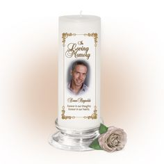 3x9 Pillar Candles : Chestnut Memorial Pillar Photo Candle White, Unscented. Stand, optional