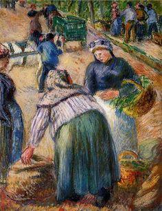 Potato Market, Boulevard des Fosses, Pontoise, 1882 - Camille Pissarro - WikiArt.org