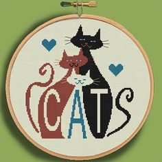 THREE MOD CATS - Modern Counted Cross Stitch Pattern - pdf instant download                                                                                                                                                                                 More