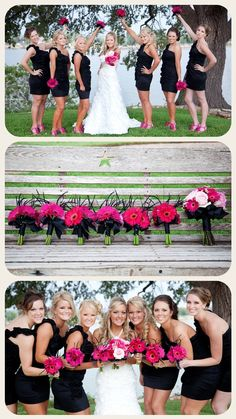 pink and black- gerbera! The Bridesmaids will wear black cocktail length dresses, strands of turquoise as necklaces, and coral shoes. Their bouquets will be coral gerbera daisies with the stems wrapped in turquoise ribbons. This photo simply shows how pretty black dresses are with a pop of vivid color as they surround the Bride in white. So lovely!