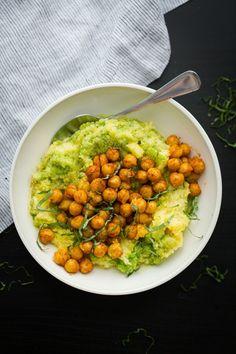 Spinach Pesto Polenta with Smoky Chickpeas | /naturallyella/