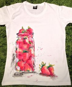 Hand painted Tshirt with strawberries. Tasty by palettePandora