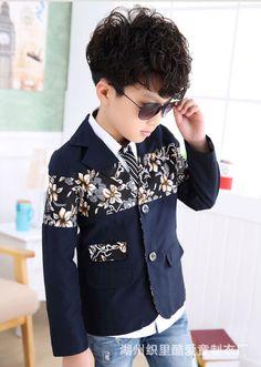 Big Boys Casual Blazers Kids  3-16y Children Single Breasted Floral Korean Style for Wedding Outwear Clothing EB021