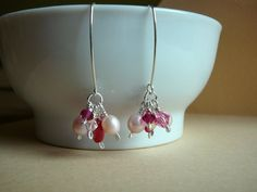 Sterling Silver earrings with soft pink pearls and crystals by CreationsChantal