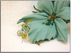 Leather flower brooch .Corsage flower.