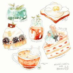 Image about art in Drawing & Sketches by Girls beyond fashion Cute Food Drawings, Kawaii Drawings, Desserts Drawing, Dessert Illustration, Chibi Food, Food Sketch, Food Cartoon, Watercolor Food, Food Painting