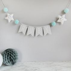 Personalised Star Name Bunting With Pom Poms More