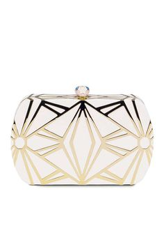 Bulgari white clutch with gold deco design Handbag Accessories, Fashion Accessories, Burberry Handbags, Clutch Wallet, Clutch Bags, Beautiful Bags, Evening Bags, Earrings, Designer Handbags