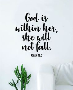 God is Within Her Psalm Quote Wall Decal Sticker Bedroom Home Room Art Vinyl Inspirational Motivational Teen Decor Religious Bible Verse Blessed Spiritual - black