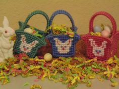 Mini Baskets Set Of Three Needlepoint Bunny by BunniesMadeOfBread
