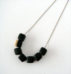 Black Gold Dipped Polymer Clay Necklace Square by AQuietCuriosity.