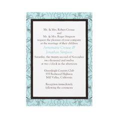 Light Blue with Brown Swirls Wedding Invitation
