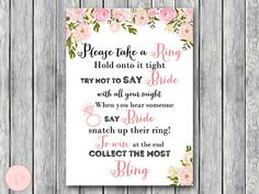 Gold Don't Say Bride Game, Don't Say a word Game, Take a Ring Game, Bridal shower game, Bridal showe Bridal Shower Activities, Printable Bridal Shower Games, Wedding Shower Games, Wedding Games, Wedding Printable, Wedding Venues, Bridal Games, Wedding Vows, Wedding Rings