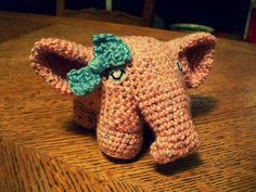 $12.00     Made to order crochet amigurumi elephants! For all of those who don't know, amigurumi is the Japanese art of knitting or crocheting small stuffed animals. Soft and durable at the same time, great for babies and small children.