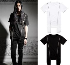 Extended Long Zipper FIT FEAT Cotton KTZ CASUAL Street Rules Tyga Tee T Shirt #FITFEAT #Zipper
