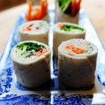 Tortilla Rollups - look like sushi! Change this recipe for a new idea & add taco seasoning with the cream cheese. Fill them with diced, seeded tomatoes, black olives, cilantro, green chiles, etc.