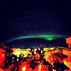 Northern lights seen over Reykjavik Iceland