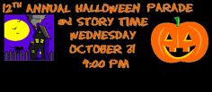 St. Pete Beach Library's 12th Annual Halloween Parade and Story Time! Starts Wednesday, October 31st @ 4pm!