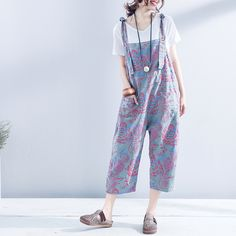 Flowers Printed Cotton Linen Wide Leg Jumpsuits Summer Casual Rompers    #blue #flowers #print #cottonlinen #jumpsuits #rompers #fashion