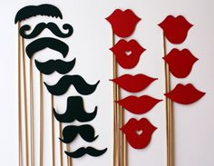 Mustache and Lips On a Stick - 16 Piece Set - Photo Booth Props. $22.00, via Etsy.